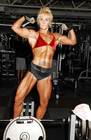 Bodybuilding woman.  stock photo, An very muscular blond bodybuilding woman shoos her muscles on the  tummy, arms and legs in the gym in front of the equipment. by Horst Petzold