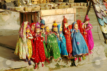 Puppets 1, Jaipur, India stock photo, Puppets on sale by the roadside, Jaipur, India by Steeve Dubois