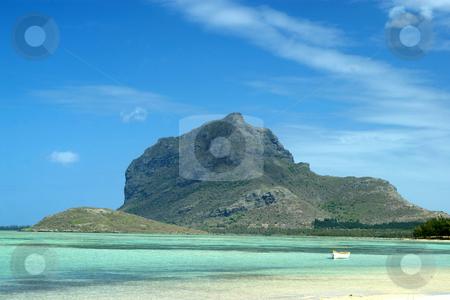 Le Morne Brabant Mountain, Mauritius stock photo, Le Morne Brabant Mountain, a World Heritage site, viewed from La Prairie beach, Mauritius by Steeve Dubois
