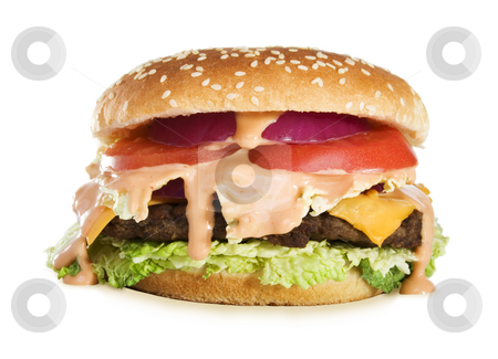 Delicious Cheeseburger  stock photo, Stock image of Classic Cheeseburger. Isolated on white. by iodrakon