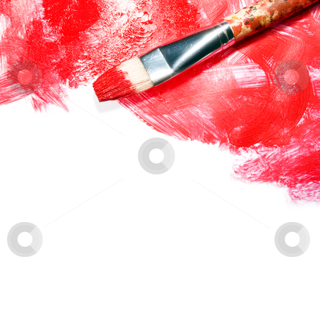 Red strokes on white stock photo, Stock image of paintbrush and red paint strokes over white canvas with copy space by iodrakon