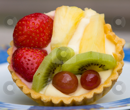Fruit tart stock photo, Fruit custard tart in close-up by Karen Arnold