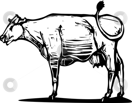 Cow #2 stock vector clipart, Woodcut style image of a common dairy cow. by Jeffrey Thompson