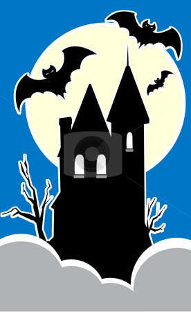 Haunted House stock vector clipart, Haunted house on a hilltop with three bats. by Jeffrey Thompson