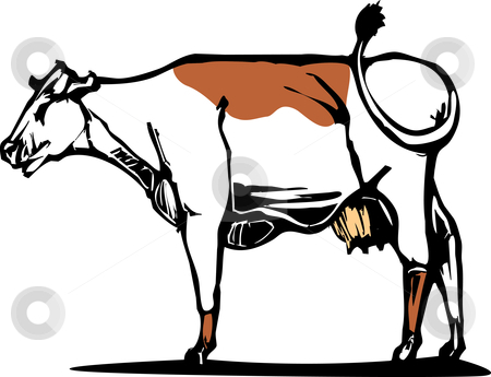 Cow #1 stock vector clipart, Dairy Cow with a brown spot on its back. by Jeffrey Thompson