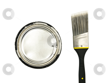 Paint and Brush stock photo, Can of paint and brush on a white background by John Teeter