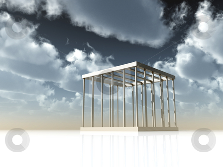 Jail stock photo, Cage under cloudy sky - 3d illustration by J?