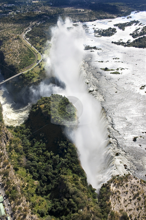 Victoria falls By Air stock photo, Aerial view of Victoria Falls taken from over Zambia looking towards Zimbabwe by Darren Pattterson