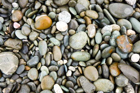 Pebble beach stock photo, Close up of a pebble beach on the west coast of New Zealand by Darren Pattterson