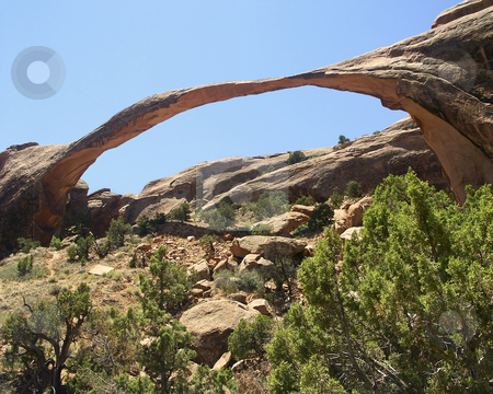 Landscape ARch, Arches National Park, Utah stock photo, At about 300 feet, Arches National Park's Landscape Arch is thought to be the world's longest. by Kenneth Keifer