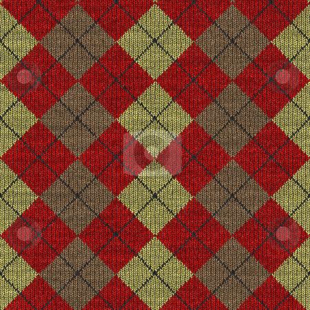 Tartan knitwork pattern stock photo, Seamless texture of knitted wool gingham squares in red, yellow and brown by Wino Evertz