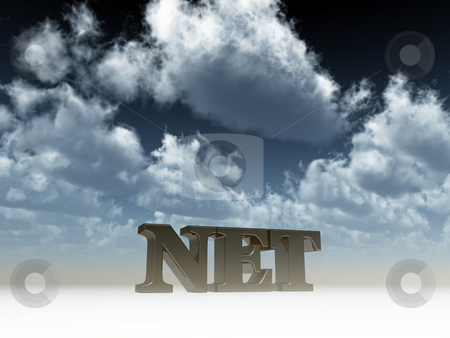 Net domain stock photo, Net domain under cloudy blue sky - 3d illustration by J?