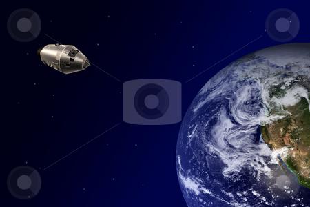 Earth-orbiting spacecraft stock photo, Earth-orbiting spacecraft from the space by Bernardo Varela