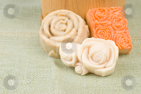 Different kinds of handmade soap stock photo, Different kinds of handmade soap,add natural herb by Lawren