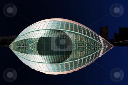 Eye to the world stock photo, Hemisferic building in the night by Bernardo Varela