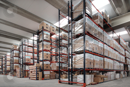 Indoor wharehouse stock photo, Shelves manufacturing storage in a warehouse by Bernardo Varela