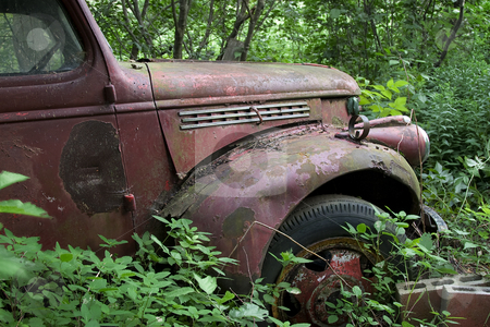 Rusted truck stock photo, Old rusted truck stuck in the woods by Yann Poirier