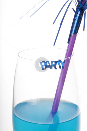 Blue party drink stock photo, Blue cocktail with a decoration and a party sign by Daniel Kafer