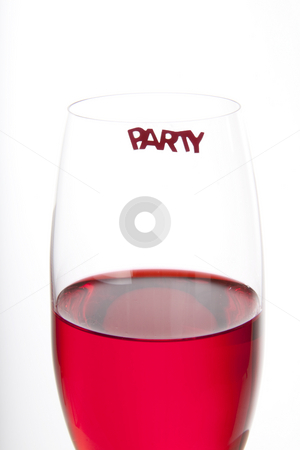 Red party drink stock photo, Blue cocktail with a decoration and a party sign by Daniel Kafer