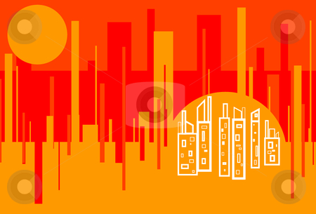 Red Hot City stock vector clipart, Abtract Cityscape background featuring analogous red, orange, yellow color scheme by x7vector