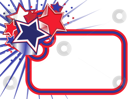Red, White and Blue Stars Banner on White BKGD stock vector clipart, Red, White and Blue Stars Banner on a White background by x7vector