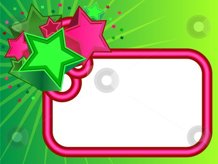 Retro Stars Banner on Green background stock vector clipart, Retro Stars Banner on Green gradient background by x7vector