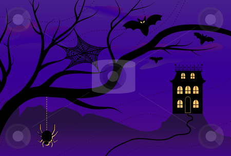 Spooky Halloween House stock vector clipart, Vector illustration of a spooky Halloween night with misty night skies, creepy creatures and an isolated Halloween house. by x7vector