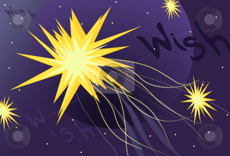 Wish Upon a Star stock vector clipart, Conceptual depiction of Wish Upon a Star with glowing stars, sparkle tails, a planet and hand drawn wish text. by x7vector