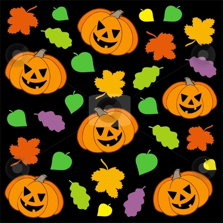 Halloween background 1 stock vector clipart, Halloween background 1 with pumpkins and leaves - vector illustration. by Klara Viskova