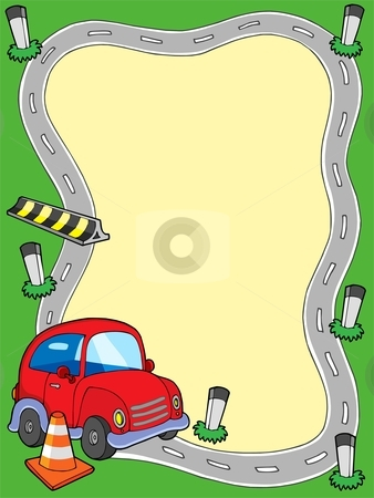 Road frame with small car stock vector clipart, Road frame with small car - vector illustration. by Klara Viskova