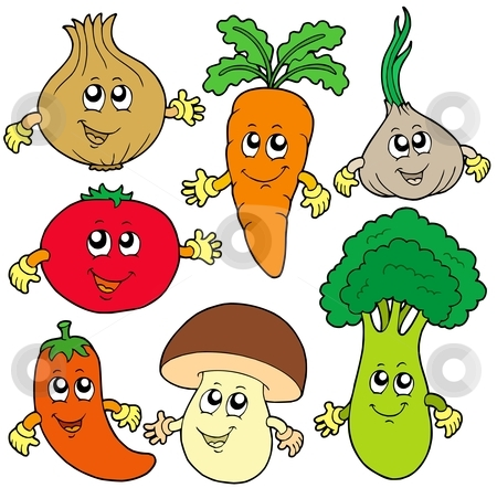 Cute cartoon vegetable collection stock vector clipart, Cute cartoon vegetable collection - vector illustration. by Klara Viskova