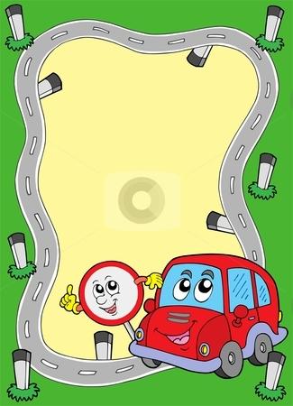 Road frame with cute car stock vector clipart, Road frame with cute car - vector illustration. by Klara Viskova