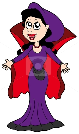 Cute vampire woman stock vector clipart, Cute vampire woman - vector illustration. by Klara Viskova