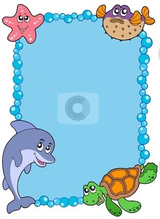 Frame with sea animals 1 stock vector clipart, Frame with sea animals 1 - vector illustration. by Klara Viskova