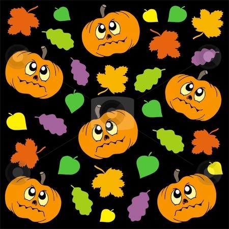Halloween background 2 stock vector clipart, Halloween background 2 with pumpkins and leaves - vector illustration. by Klara Viskova