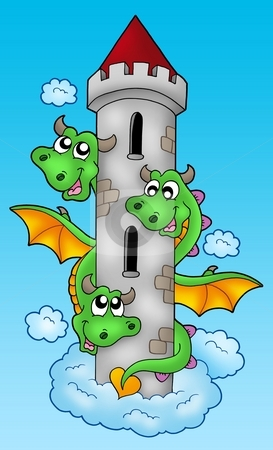 Three headed dragon on sky stock photo, Three headed dragon on sky - color illustration. by Klara Viskova