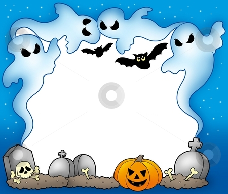 Halloween frame with ghosts 2 stock photo, Halloween frame with ghosts 2 - color illustration. by Klara Viskova