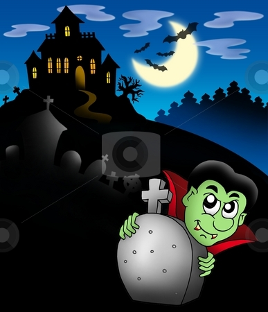 Vampire with haunted mansion stock photo, Vampire with haunted mansion - color illustration. by Klara Viskova
