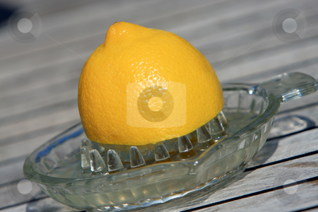 Squeezing lemon juice stock photo, Half a lemon in a glass juice squeezer by Karen Arnold