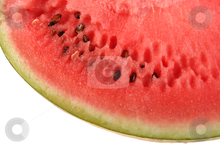 Crop of ripe slice watermelon. stock photo, Crop of ripe slice watermelon. Close-up. Isolated on white background. by Andrey Khritin