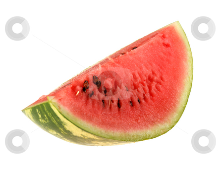 Single slice of ripe watermelon. stock photo, Single slice of ripe watermelon. Close-up. Isolated on white background. by Andrey Khritin