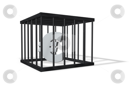 Euro stock photo, Euro sign in a cage on white background - 3d illustration by J?