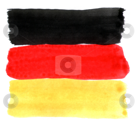 German colors stock photo, Brushed german colors on white background - black, red, gold by J?