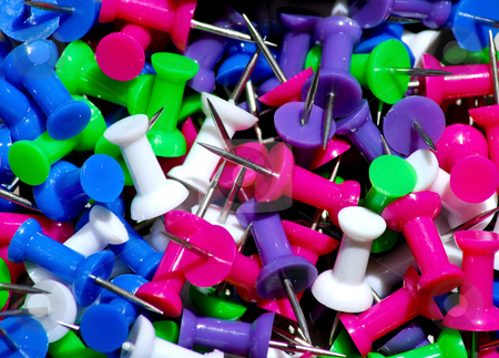 Tacks stock photo, Assortment of office stable tacks by Monica Boorboor
