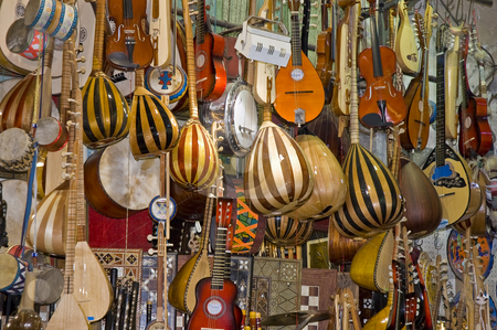 Music intruments shop. stock photo, One of the many shops that we can find inside the Grand Bazaar market in Istambul. by Anibal Trejo