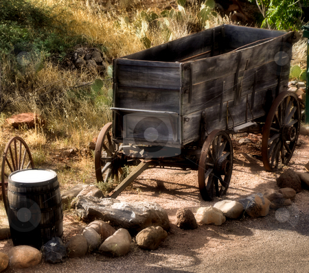Old wooden cart stock photo, Old wooden cart from days of the wild west by Monica Boorboor