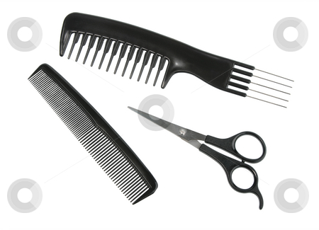 Two black professional combs and scissors. stock photo, Two black professional combs and scissors. Close-up. Isolated on white background. by Andrey Khritin