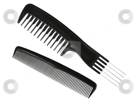 Two black professional combs. stock photo, Two black professional combs. Close-up. Isolated on white background. by Andrey Khritin