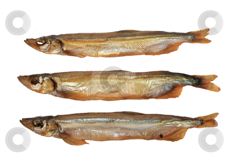 Group of three a smoked golden fishs. stock photo, Group of three a smoked golden fishs. Close-up. Isolated on white background. by Andrey Khritin