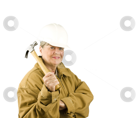 Senior Woman Worker stock photo, Senior woman worker on a white background by John Teeter